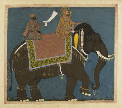 Sultan Muhammad Adil Shah and Ikhas Khan riding an elephant