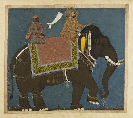 Sultan Muhammad Adil Shah and Ikhas Khan riding an elephant